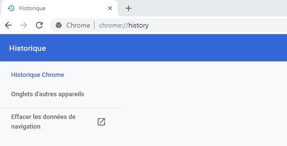accès historique google chrome