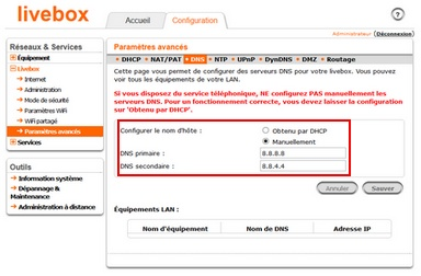 dns paramétrés box livebox