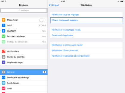 menu réinitilisation iPad
