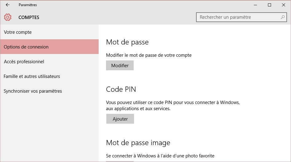 options mot de passe windows 10
