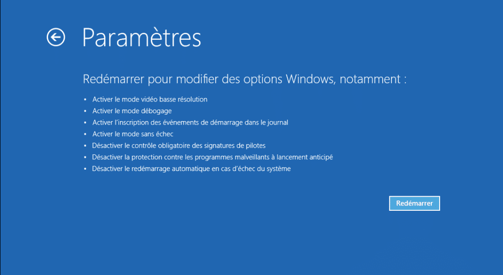 windows 10 sans echec parametre avancés